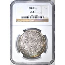 1904-O MORGAN DOLLAR, NGC MS-63 COLOR