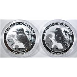 2-2019 AUSTRALIA 1oz SILVER KOOKABURRA $1.00 COINS