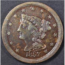 1857 HALF CENT  CH BU