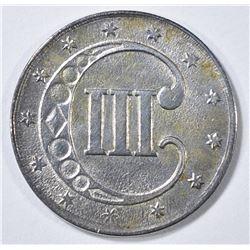 1853 3-CENTS  SILVER CH BU