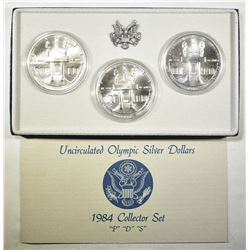 1984 OLYMPIC P-D-S OLYMPIC SILVER DOLLAR  SET