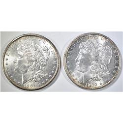 1901-O, 02-O MORGAN DOLLARS CH BU