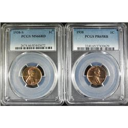 2 LINCOLN CENTS  1938 PCGS PR-65 RB &