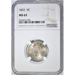 1892 LIBERTY HEAD NICKEL  NGC MS-63