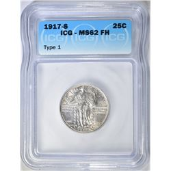 1917-S STANDING LIBERTY QUARTER  ICG MS-62 FH