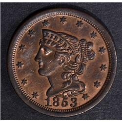 1853 HALF CENT, CH BU RB