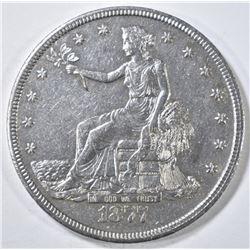 1877-CC TRADE DOLLAR, AU