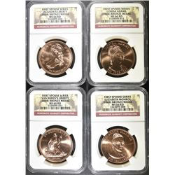 2008 FIRST SPOUSE BRONZE MEDAL SET, NGC MS-66 RED