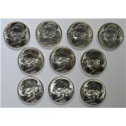10-BU 1942-P SILVER JEFFERSON NICKELS