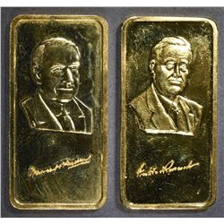 2-HAMILTON MINT GOLD PLATED 1oz SILVER BARS