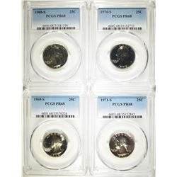 4 WASHINGTON QUARTERS PCGS PR-68