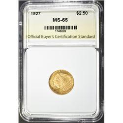 1927 $2.50 GOLD INDIAN OBCS GEM BU