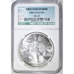 1986 AMERICAN SILVER EAGLE, NGC MS-69 1st YEAR