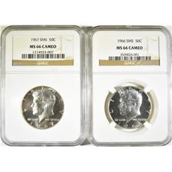 1966 & 67 SMS KENNEDY HALF DOLLARS NGC MS66 CAMEO