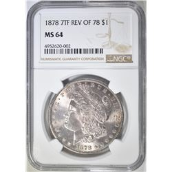 1878 7TF REV OF 78 MORGAN DOLLAR  NGC MS-64