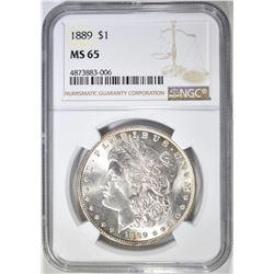 1889 MORGAN DOLLAR  NGC  MS-65