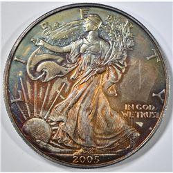 2005 AMERICAN SILVER EAGLE  RAINBOW COLOR