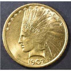 1907 GOLD $10  NO MOTTO  GEM BU