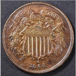 1864 2 CENT AU/BU POROUS