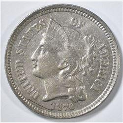 1870 3 CENT NICKEL BU