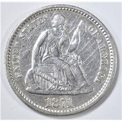 1871 SEATED LIBERTY HALF DIME XF