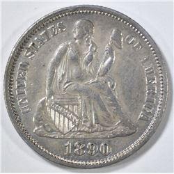 1890 SEATED LIBERTY DIME AU
