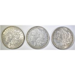 3 MORGAN DOLLARS AU 1880-P,S, 81