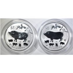 2-2019 AUSTRALIA YEAR OF THE PIG  1oz SILVER COINS