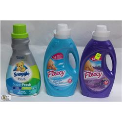2 BOTTLES OF FLEECY AND ONE BOTTLE OF SNUGGLE