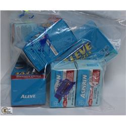 BAG OF ASSORTED ALEVE AND ASPIRIN
