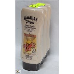 3 BOTTLES OF HAWAIIAN TROPIC SPF30 SUNSCREEN