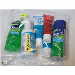 BAG OF ASSORTED FIRST AID OINTMENTS & SPRAYS