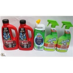 BAG OF 3 FANASTICS CLEANER & 2 DRAINO CLEANER