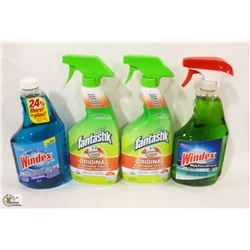 BAG OF ASSORTED CLEANING SPRAYS INCL WINDEX &