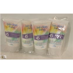 LOT OF 4 LIVE CLEAN BABY 45 SPF SUNSCREEN