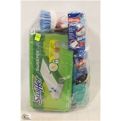 BAG OF ASSORTED CLEANING PRODUCTS