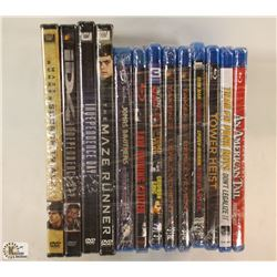 BUNDLE OF ASST DVDS AND BLURAYS