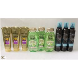 BAG OF ASSORTED HAIR CARE PRODUCTS INCL MOUSSE,