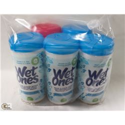 5 CONTAINERS OF WET WIPES