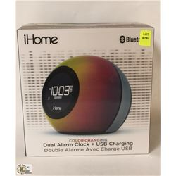IHOME COLOR CHANGING DUAL ALARM CLOCK AND USB