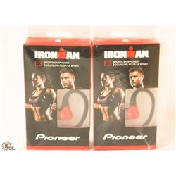 2 PAIRS OF IRONMAN E3 SPORTS EARPHONES