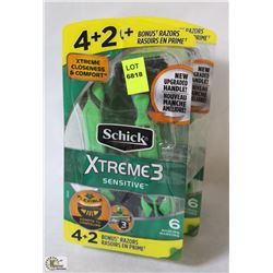 2 PACKS OF SCHICK EXTREME3 SENSITIVE DISPOSABLE
