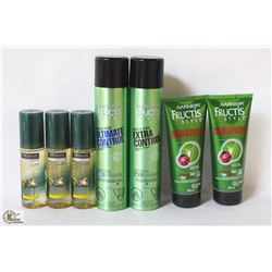 BAG OF ASSORTED HAIR PRODUCTS INCL GEL, HAIRSPRAY,