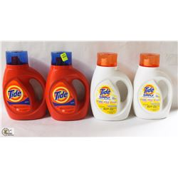4 BOTTLES OF ASSORTED LAUNDRY DETERGENT