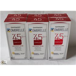LOT OF 6 GARNIER OMBRELLE SPF45 LIGHTWEIGHT LOTION