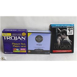2 BOXES OF TROJAN CONDOMS AND 50 SHADES OF GREY