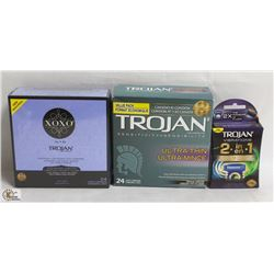 2 BOXES OF TROJAN CONDOMS AND MORE