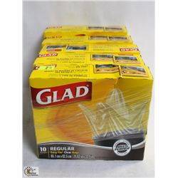 5 BOXES OF GLAD GARBAGE BAGS