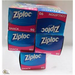 5 BOXES OF ZIPLOCK SNACK BAGS