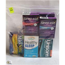 BAG OF ASSORTED SLEEP AIDS